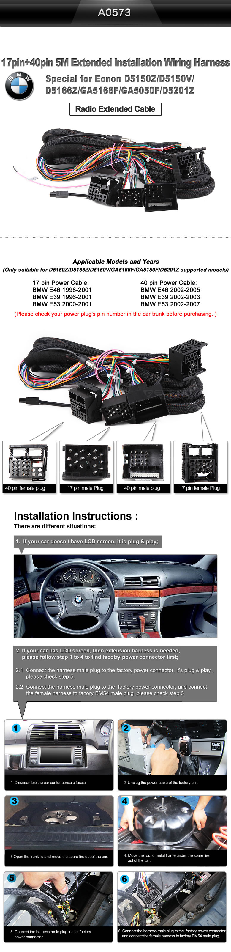 Eonon A0573 Specific Bmw Installation Wiring Harness Diagram Shipping