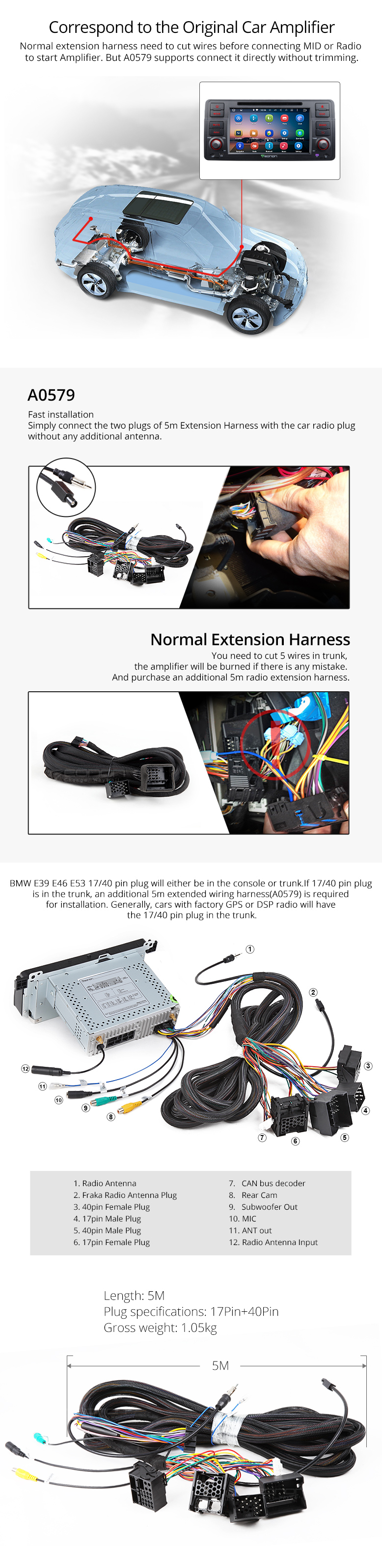 Bmw Wiring Harness Connectors Male Trusted Diagrams E30 Eonon A0579 Specific Installation Gm Transmission Connector