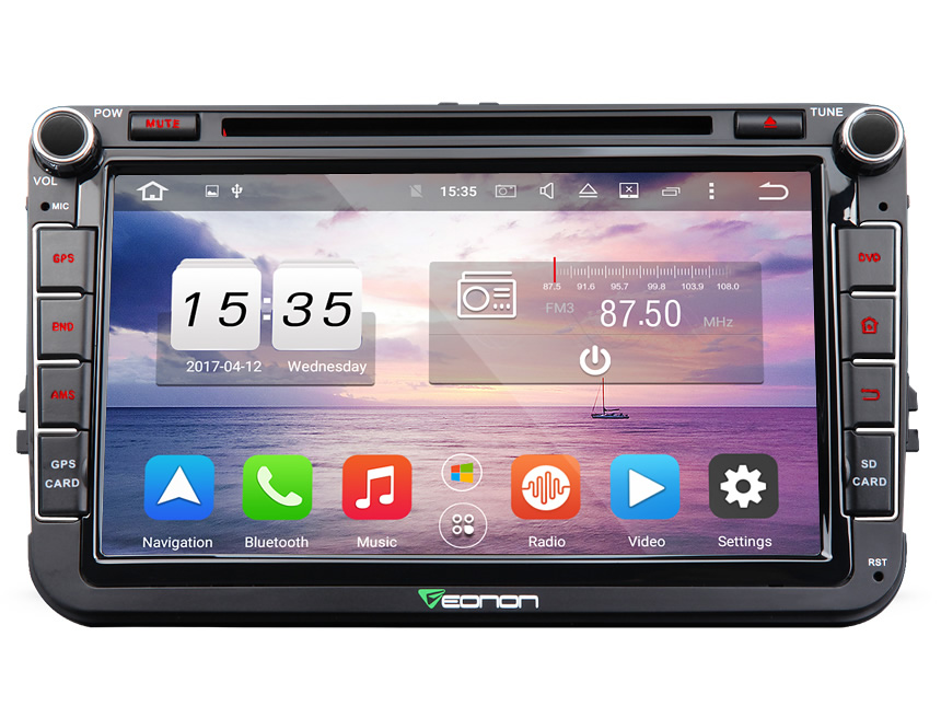 Volkswagen(VW) Android 6.0 2 Din Bluetooth Audio Receiver 2GB RAM 32GB ROM 8 Inch HD Digital Capacitive Digital Media MP3 Player AUX Input FM Radio Compatible With Rear View Camera