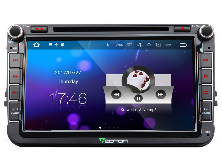 Volkswagen(VW)/SEAT/SKODA Android 7.1 Car Stereo Quad-Core 2GB RAM DVD Player 8 Inch In Dash Car GPS Navigation System With 4G WiFi Connection Split-screen Double Din In dash Touch Screen Mirror Bluetooth Car Head Unit