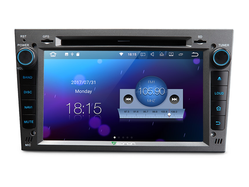 Opel/Vauxhall/Holden Android 7.1 Head Unit Car Stereo 2GB RAM Car GPS Navigation 7 Inch Double Din Car DVD Player Touch Screen Bluetooth Mirror Link Built in WiFi Bluetooth with Split-screen Mode
