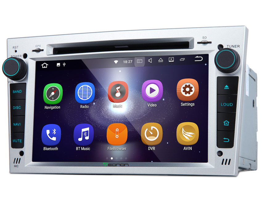 Opel/Vauxhall/Holden Android 7.1 Bluetooth Car MP3 Player Radio 7 Inch Double Din Touch Screen 2GB RAM Strong Quad-Core Silver Panel Digital Media Receiver Car GPS with Split-screen Mode