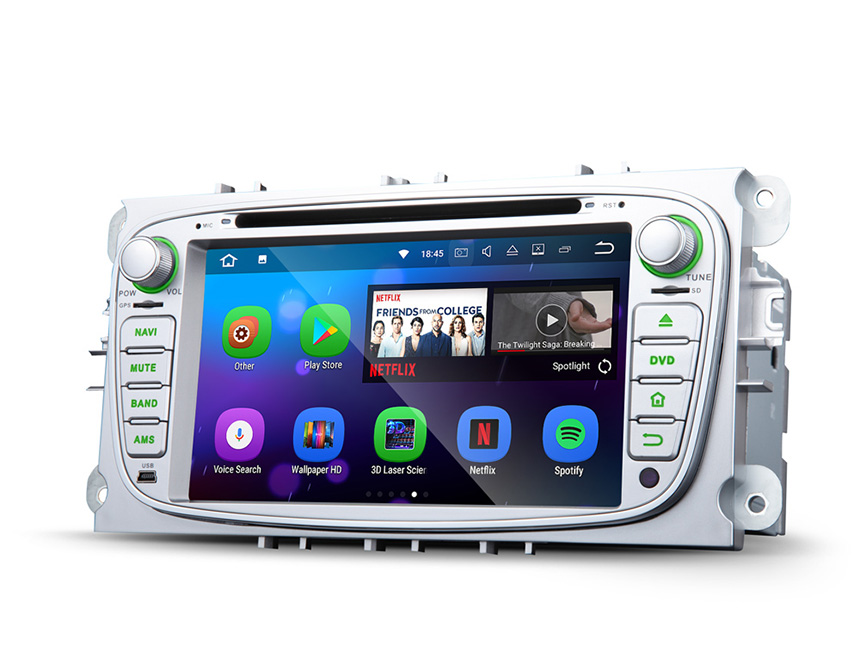 Ford Focus/Mondeo/S-Max Android 7.1 In Dash Car Radio GPS Navigation Built-in Bluetooth  Car Stereo AM FM CD DVD Player 7 Inch Double Din Car Radio Multimedia Player with Split Screen Multitasking