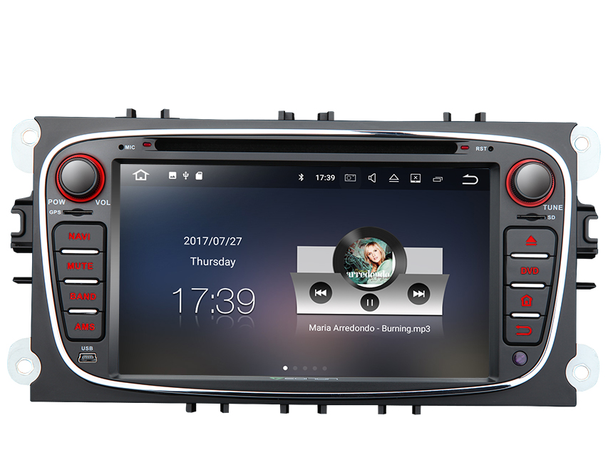 Ford Focus/Mondeo/S-Max Android 7.1 In Dash Car Radio GPS Navigation Built-in Bluetooth  Car Stereo WIFI mirror link AM FM CD DVD Player 7 Inch Double Din Car Radio Multimedia Player with Split Screen Multitasking