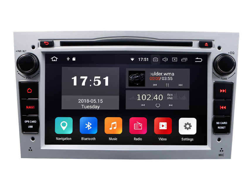 Opel/Vauxhall/Holden Android 8.0 Oreo 4G RAM, Octa-core & 32G ROM Split Screen and PIP Multitasking 7 Inch Double Din Touch Screen Car DVD Player Car GPS Navigation Silver Version