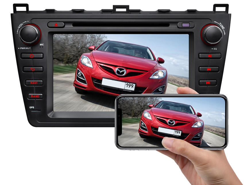Mazda 6 2009-2012 Android 8.0 Oreo 4G RAM, Octa-core & 32G ROM Split Screen and PIP Multitasking Faster Than Ever Before Double Din Touch Screen Car DVD Player Car GPS Navigation Bright Black Version