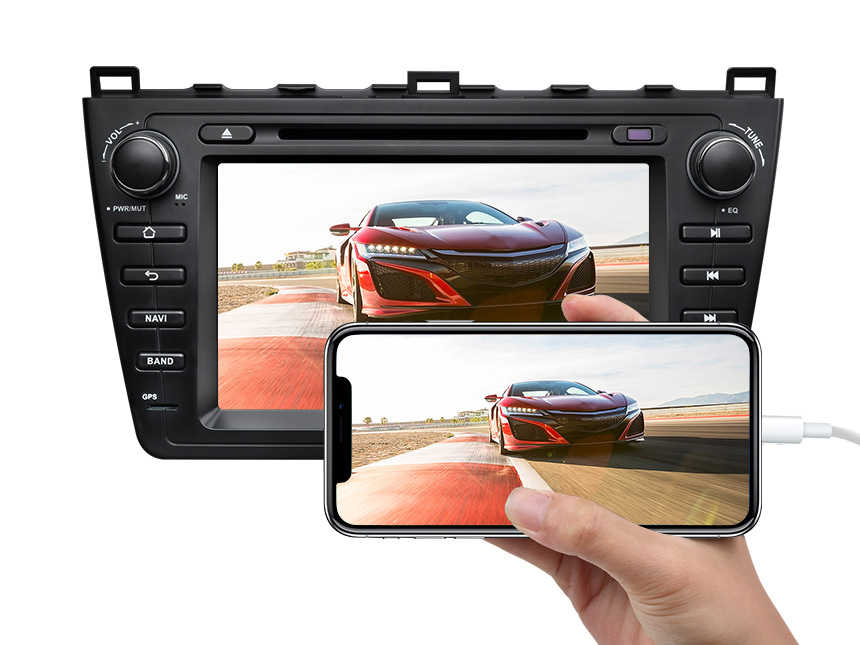 Eonon Mazda 6 2009-2012 Android 9.0 Pie Double Din Car Stereo with 2G RAM 32G ROM 8 Inch HD Touchscreen Car DVD Player Compatible with Bose System Support Bluetooth 4G Wi-Fi Steering Wheel Control