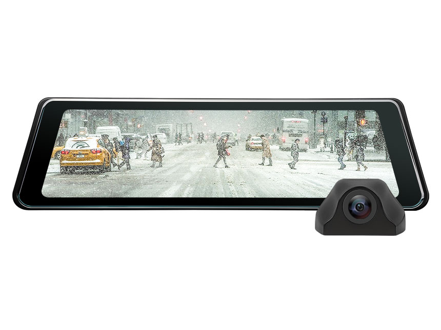 "9.88"" Full Touch Screen Streaming Media AHD Backup Camera, Dual Lens Mirror Dashcam with 140°Wide Angle, LDWS, GPS and G-Sensor"